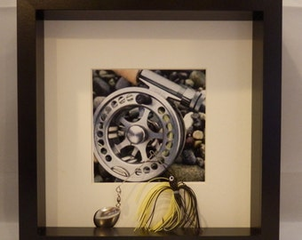 Fishing lure reel shadow box in black or white frames
