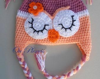 Crochet sleeping owl baby hat, crochet owl beanie, crochet girl or boy owl hat, crochet toddler owl hat, crochet owl hat with earflaps