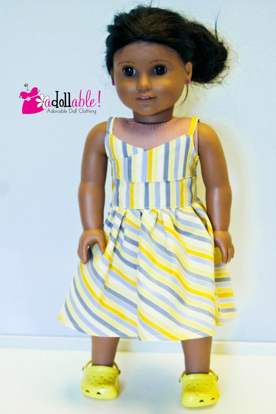 American Girl Doll Clothes, Yellow and Gray Striped Wrap Top Dress