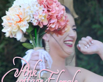 Made to order. Shabby Chic Blush Bridal Bouquet. Garden Wedding Bouquet Roses Hydrangea Peonies Chrysanthemums Hand Tied Bouquet Silk