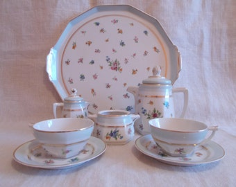 Price Reduced,Limoges Duet Coffee/Tea set onTray, Vintage French Duet Coffee Set on Tray,  French Tea Set ,Vintage Limoges Tea Set on Tray