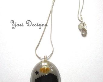 Papercut Hedgehog  Resin Pendant jewellery
