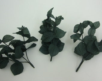 Artificial Realistic Eucalyptus Sprigs. Faux Home Decorative Leaves Dark Green. Bag of 50 Pieces.