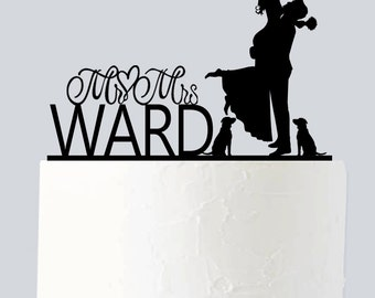 Wedding Cake Topper with Dog, Name Cake Topper with Custom Last Name A940