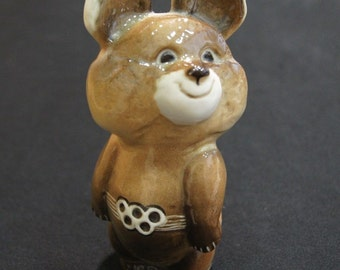 Vintage porcelain figurine Russian bear Moscow Olimpic games USSR Soviet cute bear - unique collectible gift