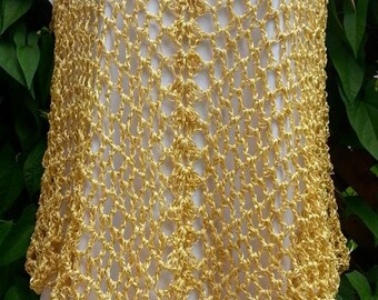 Gold Crocheted Cover Up / Tank Top / Dress