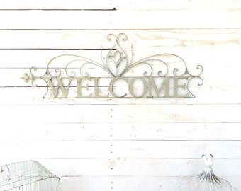 "Iron ""Welcome"" Sign, Garden Sign, Home Decor, For The Home, Above Door, Customize"