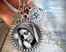 Sorrowful Mother Necklace with Holy Spirit Medallion, Italian Charms, Virgin Mary Catholic Jewelry, Baptism Gift