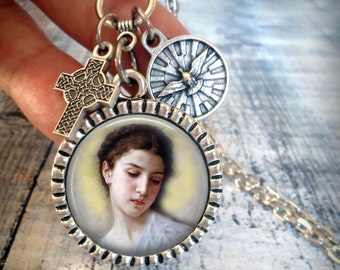 St. Maria Goretti Necklace, Patron Saint, Holy Medal and Detailed Cross, Catholic, Inspirational, Jewelry, Baptism Gift