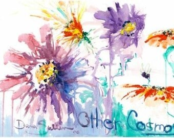 Print of Cosmos flowers from  watercolor painting