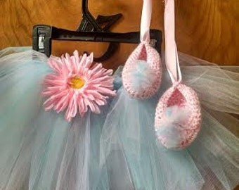Newborn princess tutu and crocheted ballet slippers