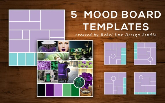 5 photoshop templates for mood board    by rebelluxdesigns