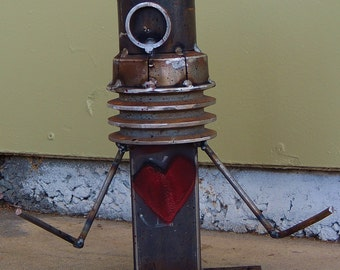 """Rusty, Salvage Steel, Robot, Steampunk, Recycled. """"HEART-ON"""""""