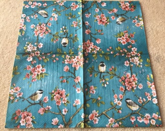 4 Single paper decoupage napkins. Chinese style birds.Perfect for decoupage, craft and collections