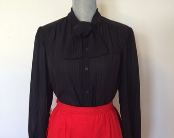M 80's Black Christian Dior Blouse with Bow-Tie Thin Red Pin Stripes Size Medium