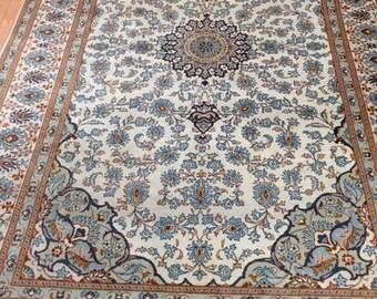 7' x 11' 1960 Persian Kashan Oriental Rug - Hand Made - 100% Wool - Vintage