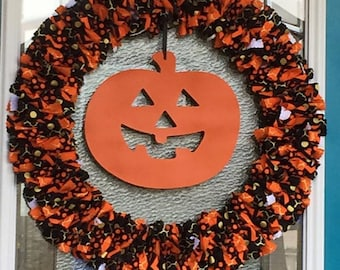 Halloween Orange/Black Wreath