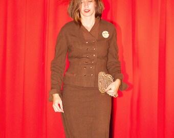 Classic 1950's Suit by Designer Dan Millstein, Brown 100% WOOL Tailored Ladies 50's SUIT, size 4