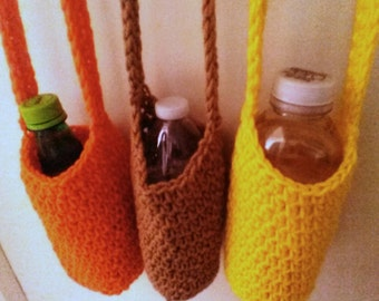 Sun and Sand Crocheted  Bottle Carriers - Long Strap Acrylic  - Drink Bags - Buy 1, 2, or The Set - Orange, Tan, or Yellow - Ready to Ship