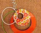 Orange Flower Power Rings Necklace