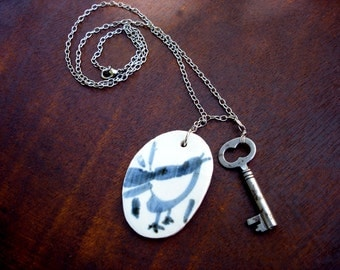 Key to the Birdcage Necklace - Vintage Blue and White Porcelain Bird Pendant and Antique Skeleton Key - Free Bird