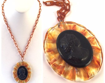 Vintage Bakelite Cameo Necklace on Celluloid Chain - Tortoise Shell Brown Scalloped Frame around Black Cameo Lady Portrait - Root Beer Chain