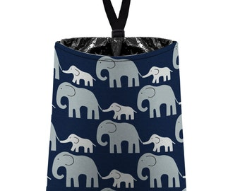 Car Trash Bag // Auto Trash Bag // Car Accessories // Car Litter Bag // Car Garbage Bag - Elephants (grey on navy blue) // Car Organizer