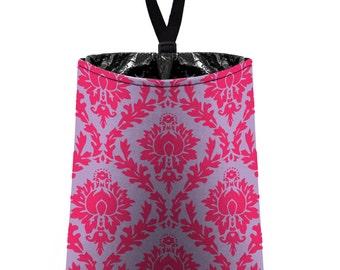 Car Trash Bag // Auto Trash Bag // Car Accessories // Car Litter Bag // Car Garbage Bag - Damask - Hot Pink Pale Lavender // Car Organizer