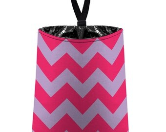 Car Trash Bag // Auto Trash Bag // Car Accessories // Car Litter Bag // Car Garbage Bag - Chevron - Hot Pink and Pale Lavender Zigzags