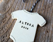 Personalized Baby Onesie Pottery Ornament