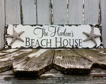 Shabby Chic Name Sign | Beach House Sign | Starfish | Custom Name Sign | Nautical Sign | Housewarming Gift | Seaside Decor | Tropical Decor