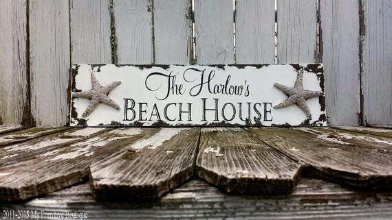 Shabby Chic Name Sign | Beach House Sign | Starfish | Custom Name Sign | Nautical Sign | Housewarming Gift | Seaside Decor | Tropical Decor