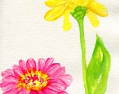 Zinnias Watercolors Paintings original, Small floral art pink, yellow zinnias watercolor paintings, Zinnia art decor, flowers