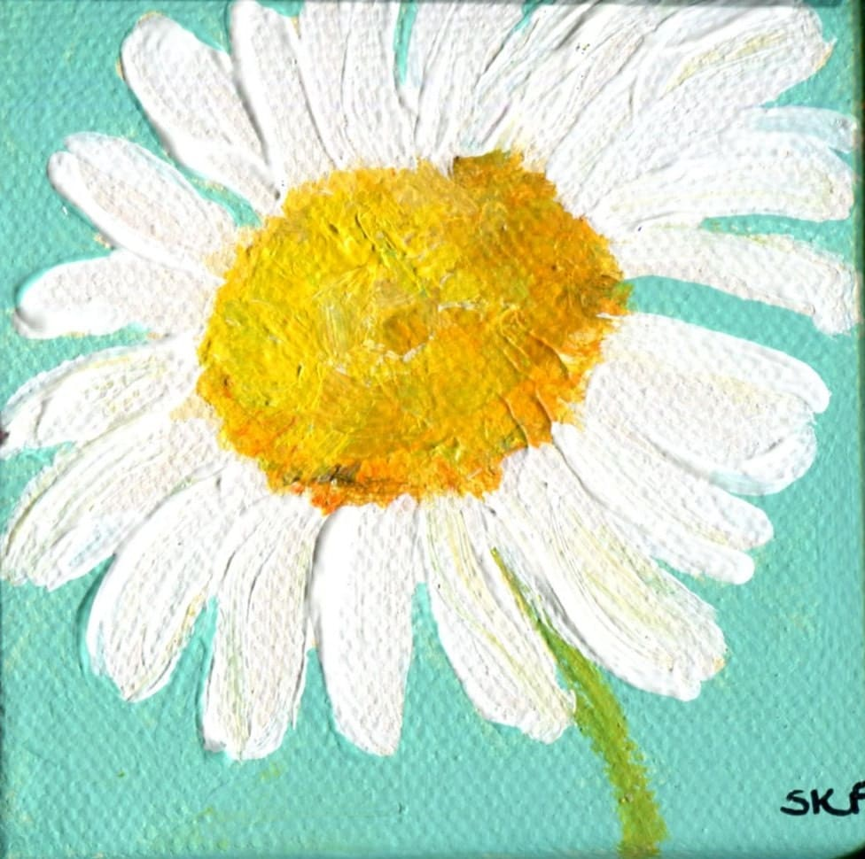 Daisy With Acrylic Painting