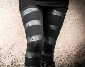 KURO - Black Leggings Stripes Nomad Industrial Goth Lines Edgy Post Apocalyptic Warriors