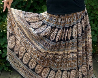 Vintage Hippie Gauze Skirt Bohemian Boho Plus Size Skirt Vintage Clothing Vintage Skirts Womens Flower Power Festival Skirt Cotton India