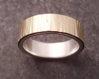 Gold Wedding Band Birch Bark Tree Bark Silver 18k Gold Wedding Ring Womens Wedding Ring Mens Wedding Ring Mens Wedding Simple Wedding Band