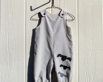 Trio of Bats Appliqued Cotton Corduroy Halloween Overall Size 12 Month
