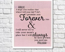 Wedding Gift Ideas For A Blended Family : Personalized Letter For Stepdaughter Art Stepdaughter Wedding Gift ...