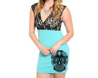 Women's Plus Size Sugar Skull Dress retro lace dresses pin up skulls tunic plus size clothing screen print gift 2XL 3XL Mint dress