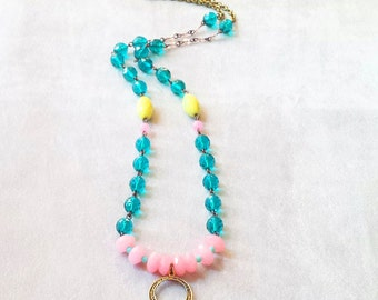Colorful bohemian gemstone crystal beaded necklace, Emerald pink long gypsy necklace, boho chic necklace, graduation gift, gift for her