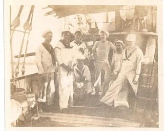 Group sailors men ship navy sea uniform boat photo image picture