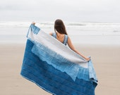 WEST WIND Hand Dyed Indigo Quilt , Queen Size, Cotton and Wool, Handmade