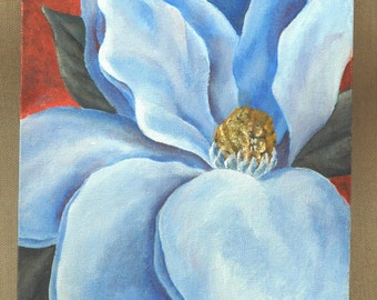 "Blue Magnolia Original Acrylic Painting 8"" by 10"""