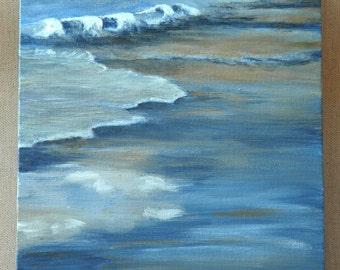 "Sunset Over The Shoreline Original Acrylic Painting 8"" x 10"""