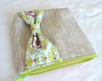 Zipper Pouch Make up Cosmetic Bag - Linen with Green Blue Bow