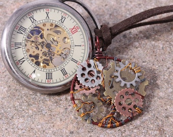 Steampunk Tree of Life Pendant Clockwork Necklace Copper Gears Cogs Wire Wrapped Jewelry Steampunk Accessories Brass Copper Gunmetal RTS