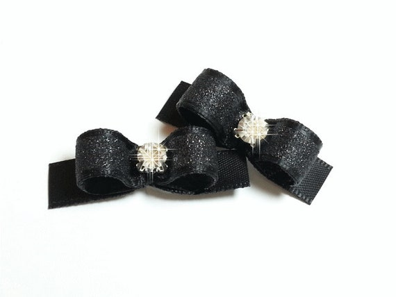 Dog Bow - Black Dog Bow - Sparkle Dog Bow - Dog Bow Tie - Glitter Dog Bow - Fancy Dog Bow, Puppy Dog Bow, Pet Hair Accessory, Pet Bow