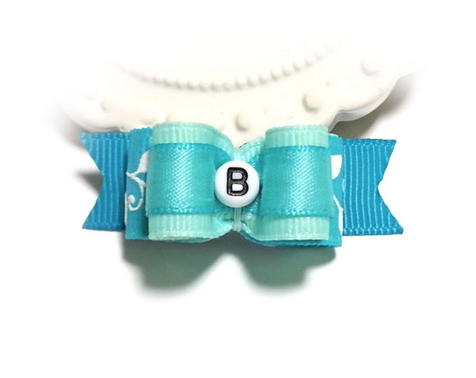Personalized Dog Bow, Aqua Dog Bow, Pet Hair Bow, Show Dog Bow, Pet Grooming Bow, Bows for Dogs