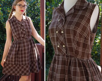 Miss POLLY 1950's 60's Vintage Dark Brown + White Plaid Sleeveless Dress // by Mr. KOLBERT // size Small Med